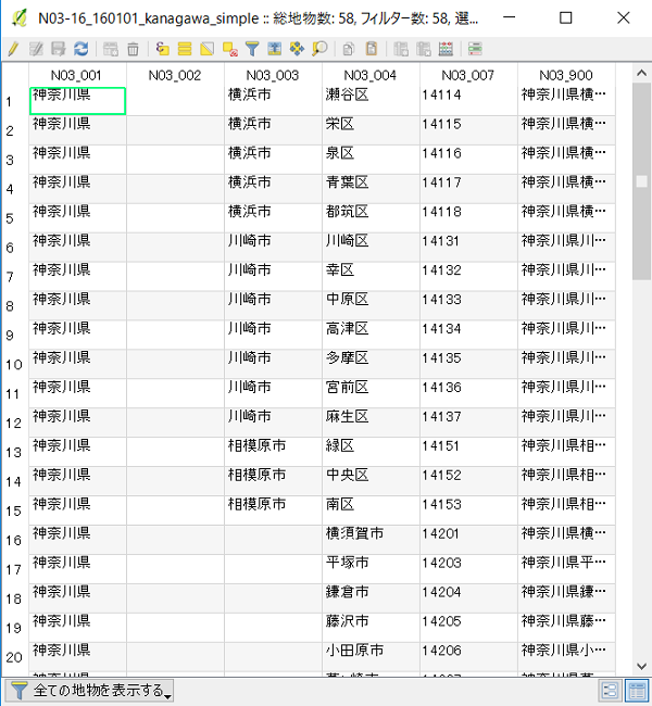 qgis-designated-city-dissolve-attribute-table-before